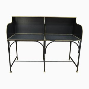 French Metal and Brass Bank Desk Counter with Double Seat, 1910s