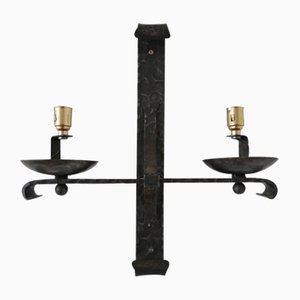 Mid-Century French Brutalist Iron Double Arm Wall Light