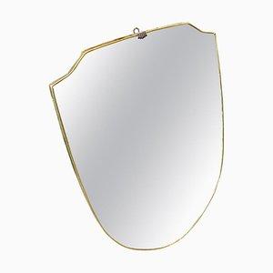 Specchio da parete Mid-Century moderno in ottone, Italia, anni '60