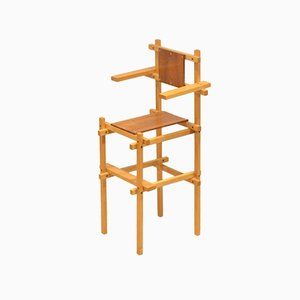 Hand-Crafted Teak & Birch Children's High Chair by Gerrit Rietveld, 1960s