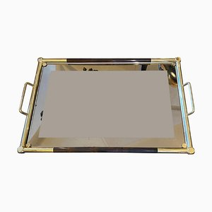 Mid-Century Italian Modern Brass and Faux Tortoise Lucite Tray, 1970s