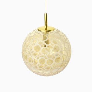 Amber Glass Ceiling Lamp from Doria, 1960s