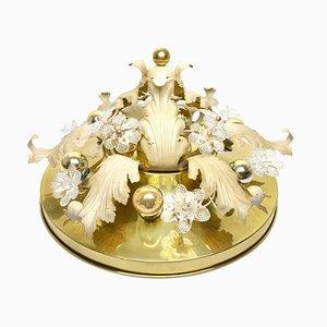 Vintage Hollywood Regency Flower Ceiling Lamp with Glass Flowers
