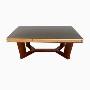 Art Deco Table in Rosewood and Parchment with Top in Black Glass