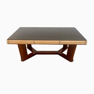 Art Deco Tisch aus Palisander und Pergament mit Platte aus schwarzem Glas