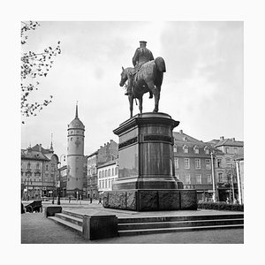 Market Square with Monument of Louis IV, Darmstadt, Germany, 1938, Printed 2021