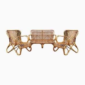 Vintage Rattan Sofa & Stühle aus Bambus von Rohe Noordwolde, 3er Set