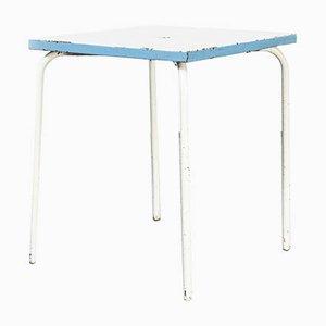 Französischer Modell 836.2 Gartentisch aus Metall in Blau & Weiß, 1950er