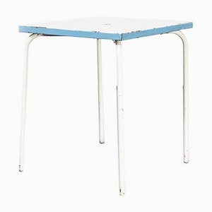 Model 836.2 French Metal Garden Table in Blue and White, 1950s