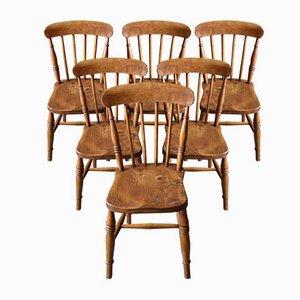Chaises Windsor Antiques en Orme, Set de 6