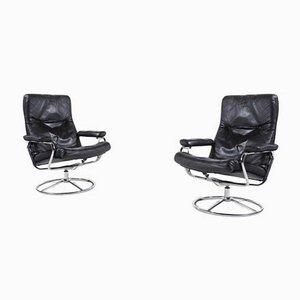 Vintage Swedish Swivel Lounge Chairs, Set of 2