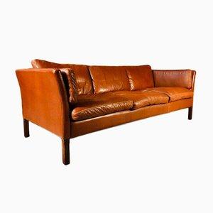 Dänisches Vintage 3-Sitzer Sofa aus cognacfarbenem Leder von Stouby, 1960er