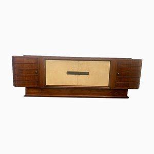 Art Deco Sideboard aus Palisander und Pergament mit Platte aus schwarzem Glas