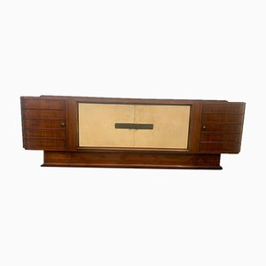 Art Deco Sideboard in Rosewood and Parchment with Top in Black Glass