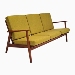 Wool & Teak Wood 3-Seater Sofa, 1960s, Denmark