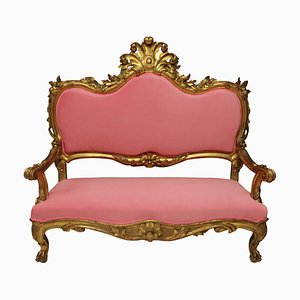18th-Century Venetian Bubblegum Pink Velvet & Giltwood Sofa