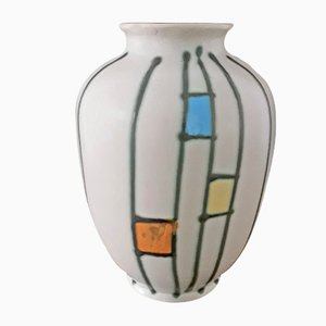 Vintage Bulbous Ceramic 307 20 Vase in Cream White Glaze Decorated with Multicolored Shapes, 1960s