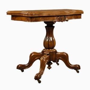Viktorianischer Walnuss Serpentine Kartentisch