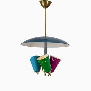 Multicolored Metal Pendant Lamp, Italy, 1950s