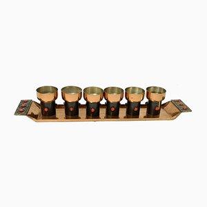 Mid-Century Modern Handmade Liqueur Glasses Set in Copper and Enamel, 1970s