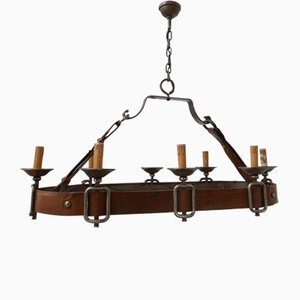 Large French Leather Adnet Style Chandelier