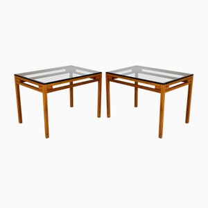 Smoked Glass and Walnut Bedside Tables, Sweden, 1960s, Set of 2