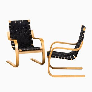 Mod. 406 Armchairs in Curved Birch Plywood & Fabric by Alvar Aalto for Artek, 1960s, Set of 2