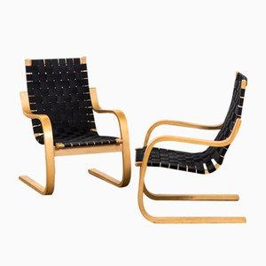 Mod. 406 Armlehnstühle aus gebogenem Birkensperrholz & Stoff von Alvar Aalto für Artek, 1960er, 2er Set