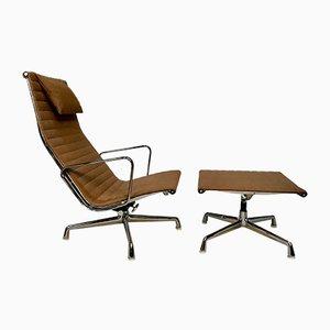 EA 124 Aluminium Sessel & EA 125 Fußhocker von Charles & Ray Eames für Vitra, 1958, 2er Set