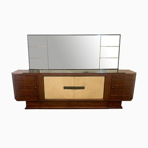 Art Deco Sideboard Set in Rosewood and Parchment with Mirror, Set of 2