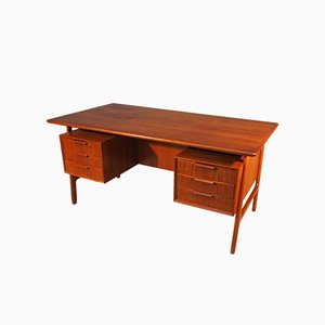Danish Model 75 Teak Desk from Omann Jun, 1960s