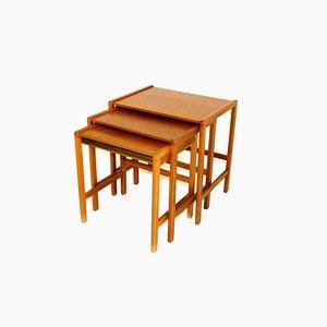 Teak & Beech Nesting Tables, Sweden, 1960s, Set of 3