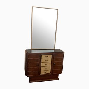Rosewood and Parchment Bar Set with Parchment Mirror, Set of 2