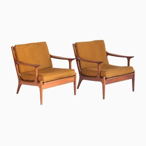 Teak and Fabric Armchairs by Edvard Valentinsen for Fraska, Denmark, 1960s, Set of 2
