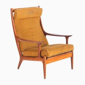 Skandinavischer Armlehnstuhl aus Teak & Stoff von Edvard Valentinsen für Fraska, Dänemark, 1960er