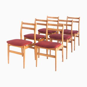 Scandinavian Style Chairs in Teak and Fabric, France, 1960s, Set of 6