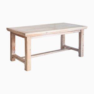 Restaurierter Bauerntisch aus Kiefernholz mit Verlängerung, Frankreich