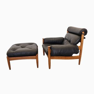 Danish Black Leather Lounge Chair with Ottoman, 1960s, Set of 2