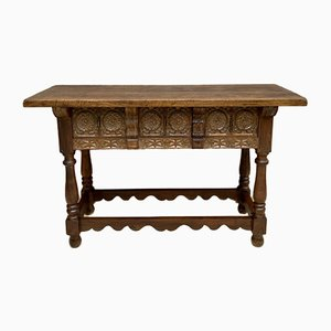 Late 19th Century Catalan Spanish Hand Carved Walnut Console Table
