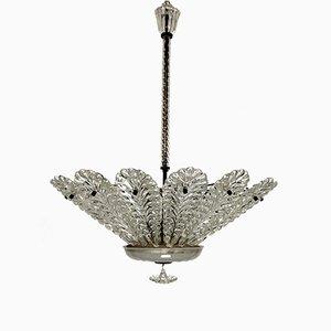 Italian Art Deco Murano Glass Chandelier from Venini, 1940s