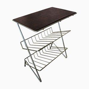Mesa auxiliar vintage o almacenamiento de vinilo con superficie de cuero sintético, años 60