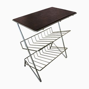 Vintage Side Table / Vinyl Storage with Faux Leather Top, 1960s