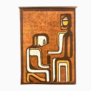 Abstrakter Batik Wandbehang, 1960er