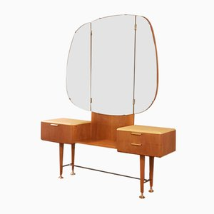 Mid-Century Art Deco Style Walnut & Brass Dressing Table with Stool by A.A. Patijn for Zijlstra Joure