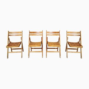 Mid-Century Solid Wood Folding Dining Chairs, 1960s, Set of 4