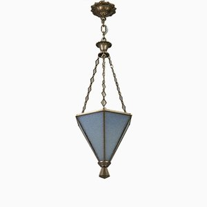 Art Deco Frosted Glass and Brass Pendant Light, 1930s
