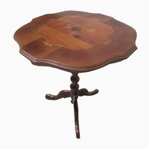 Tripod Gueridon Table with Marquetry, 1980s