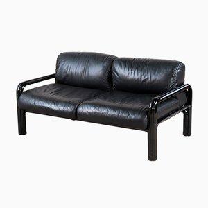 Italienisches Sofa aus Stahl & Leder von Gae Aulenti für Knoll International, 1977