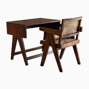 Bureau d'Étudiant et Chaise de Bureau par Pierre Jeanneret, 1959, Set de 2