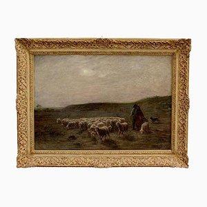 Großes Gemälde moutons au pâturage von A. Charpin, 1906